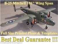 B25 Mitchell 101 Giant Scale Rc Airplane Full Size Printed Plans & Templates