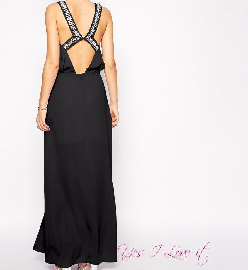 PARTY Embellished Back Maxi Cocktail Evening Elegant Party Dress schwarz UK8 S-1