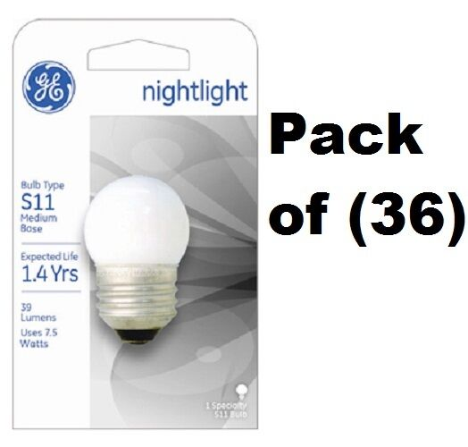 (36) ea GE 41267 S11 7.5W White Night Light  Indicator Replacement Bulbs