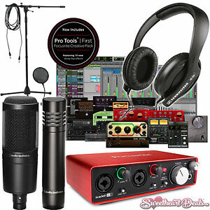 home recording studio package bundle two mics focusrite audio technica pro tools ebay. Black Bedroom Furniture Sets. Home Design Ideas