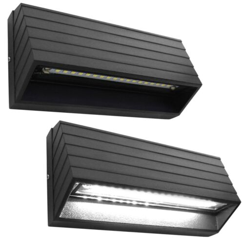 2 x Outdoor Surface Mount Wall or Pathway Brick Light Black Finish Cool White