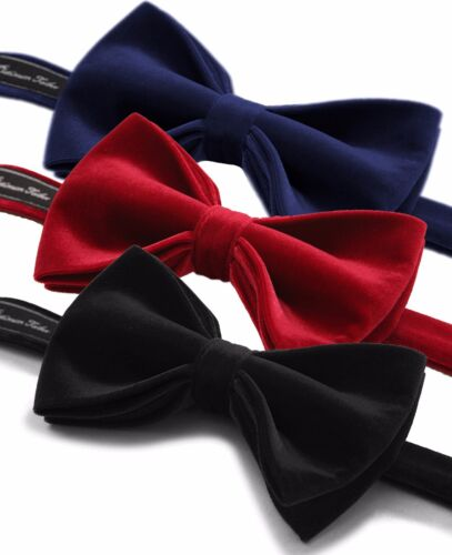 Men High Quality Cotton Velvet Bow Tie Pre Tied Adjustable Length Formal Necktie