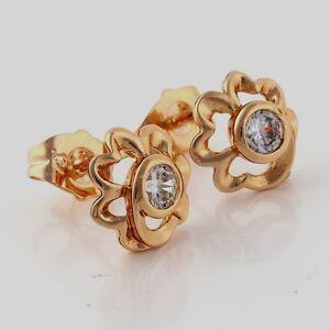 10K-Yellow-Gold-GF-CZ-Flower-Stud-Earrings-Earings-Girls-Ladies-Lovely-NEW