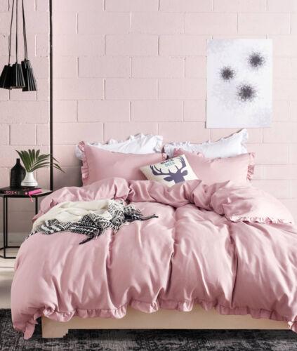 3Pcs Solid Color Comforter Quilt Duvet Cover Bedding Set Twin Queen King Size