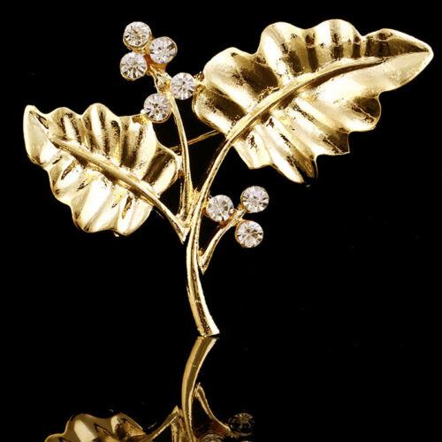 Elegant Charm Femmes Plaqué Or Feuille Strass Cristal Broche Pin Bijoux Cadeau