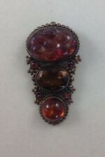STEPHEN DWECK AMBER AND TOPAZ STONES PIN