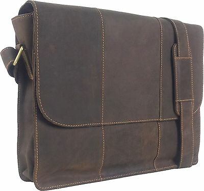 "UNICORN Real Leather 16.4"" Laptop Netbook Ultrabook Messenger Bag - Brown #7E"