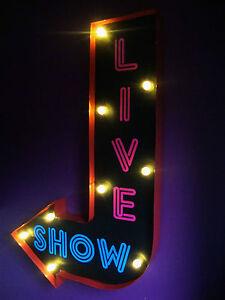 Live-Show-ARROW-Luz-Cartel-Led-Neon-Tira-Club-Retro-Vintage-Soho-Londres-VAC205