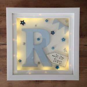Personalised Led Lights Deep Box Frame New Babychristening Nursery
