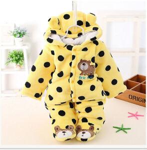 997064ff771d2 Warm Winter Newborn Baby Boy Girl Bear Romper Jumpsuit Bodysuit ...