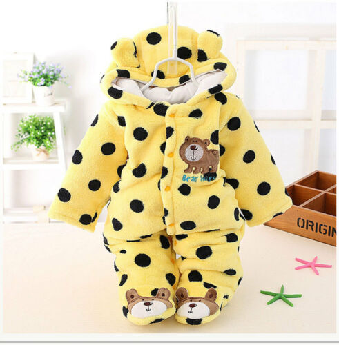 Winter Warm Newborn Baby Boy Girl Bear Romper Jumpsuit Bodysuit Hooded Clothes