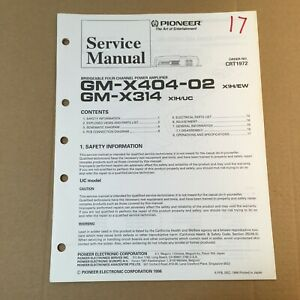 image is loading pioneer-service-manual-crt1972-for-gm-x404-02-