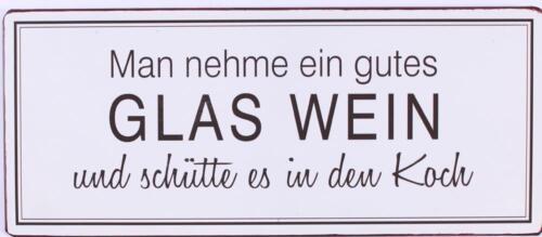 """Lafinesse Denmark Metallschild /""""Man nehme ein gutes Glas Wein.../"""" Dekoschild"""
