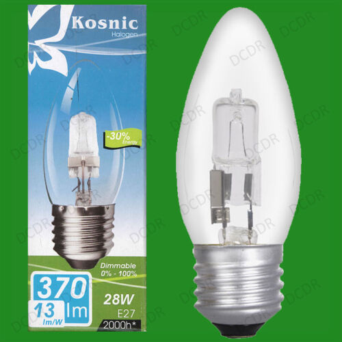 8x 28W Dimmable Halogen Clear Candle Light Bulbs ES E27 Screw Lamps =40W