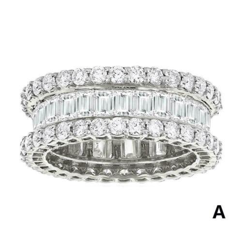 Frauen Ring Hochzeit JewelrySilver Plated Voller Diamanten Mode Zirkon B9G8