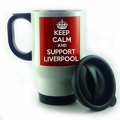 KEEP CALM & SUPPORT LIVERPOOL  MATCH DAY TRAVEL MUG THERMAL CUP PRESENT FOOTBALL