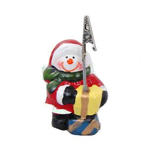 Kartenhalter-Weihnachten-034-Schneemann-034-Keramik-handbemalt-Tischdekoration-8x5cm