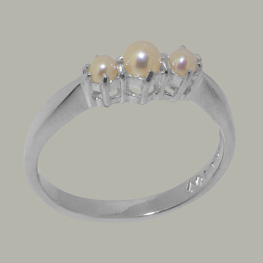 Solid 10ct White gold Full Pearl Womens Trilogy Ring - Sizes J to Z