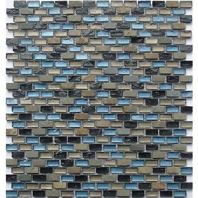 Glass Mosaic Wall Tiles Black Blue Green Brown Stone Mix Bathroom Shower MT0126