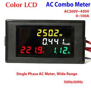 Digital-LCD-AC-220V-450V-230V-240V-LED-Voltmeter-Panel-Volt-Amp-Watt-Combo-Meter