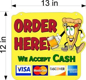 ORDER-HERE-SIGN-PIZZA-MAN-amp-BEER-PAYMENT-OPTIONS-HANGING-PLEXIGLASS-FOR-COUNTER