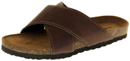 Mens Dunlop Faux Leather Slip On Strappy Summer Sandals Size 7 8 9 10 11 12