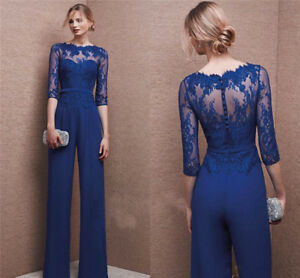 Wedding Formal Custom Mother Of The Bride Jumpsuits Navy Blue