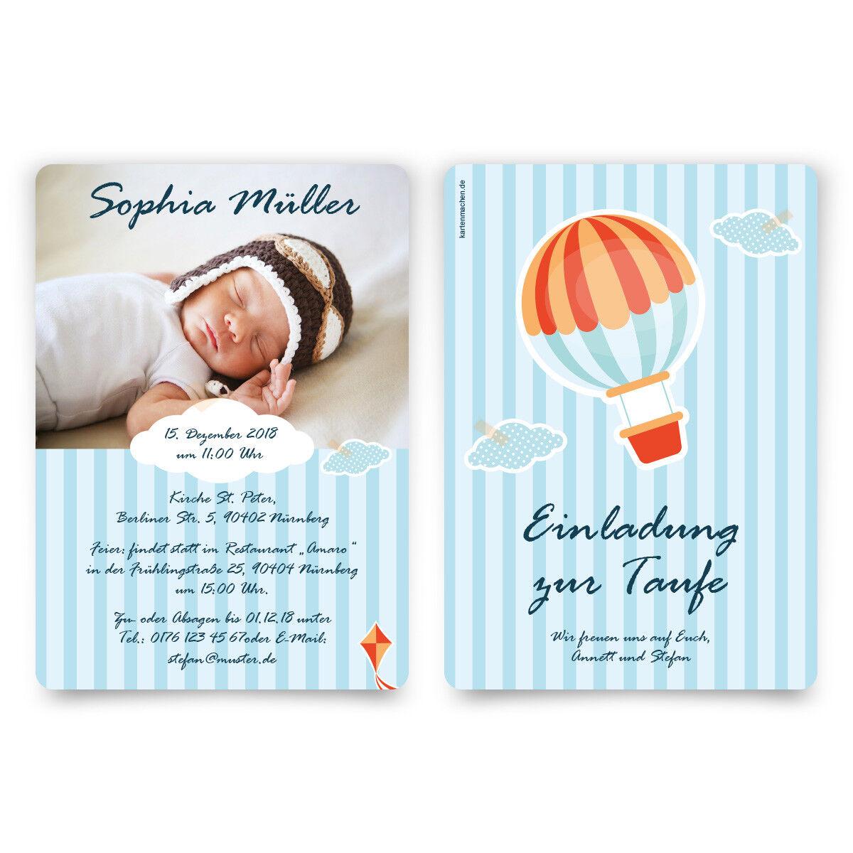 Taufkarten Taufeinladungen Einladungskarte Taufe Einladung Heißluftballon Himmel | Helle Farben  | Ausgezeichnet (in) Qualität