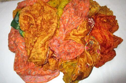 CA LOT PURE SILK Vintage Sari REMNANT Fabrics 100 GRAMS Golden Craft #ABD8C