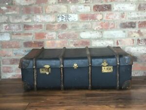 Antiques 100% Quality Old Steamer Trunk