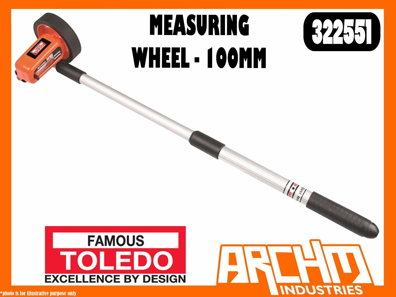 TOLEDO 322551 - MEASURING WHEEL - 100MM - 10 KILOMETRE RANGE HEAVY DUTY COMPACT