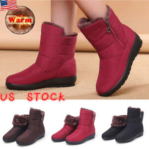 WOMEN-LADY-FUR-LINED-SNOW-ANKLE-BOOTS-WINTER-WARM-OUTDOOR-WATERPROOF-ZIP-SHOES