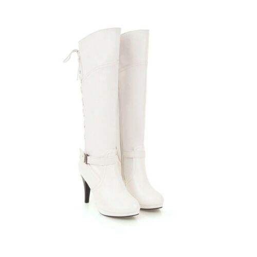 Women/'s Knee-high Boots High Heels Round Toe Platform Shoes Casual Lace Up Zip