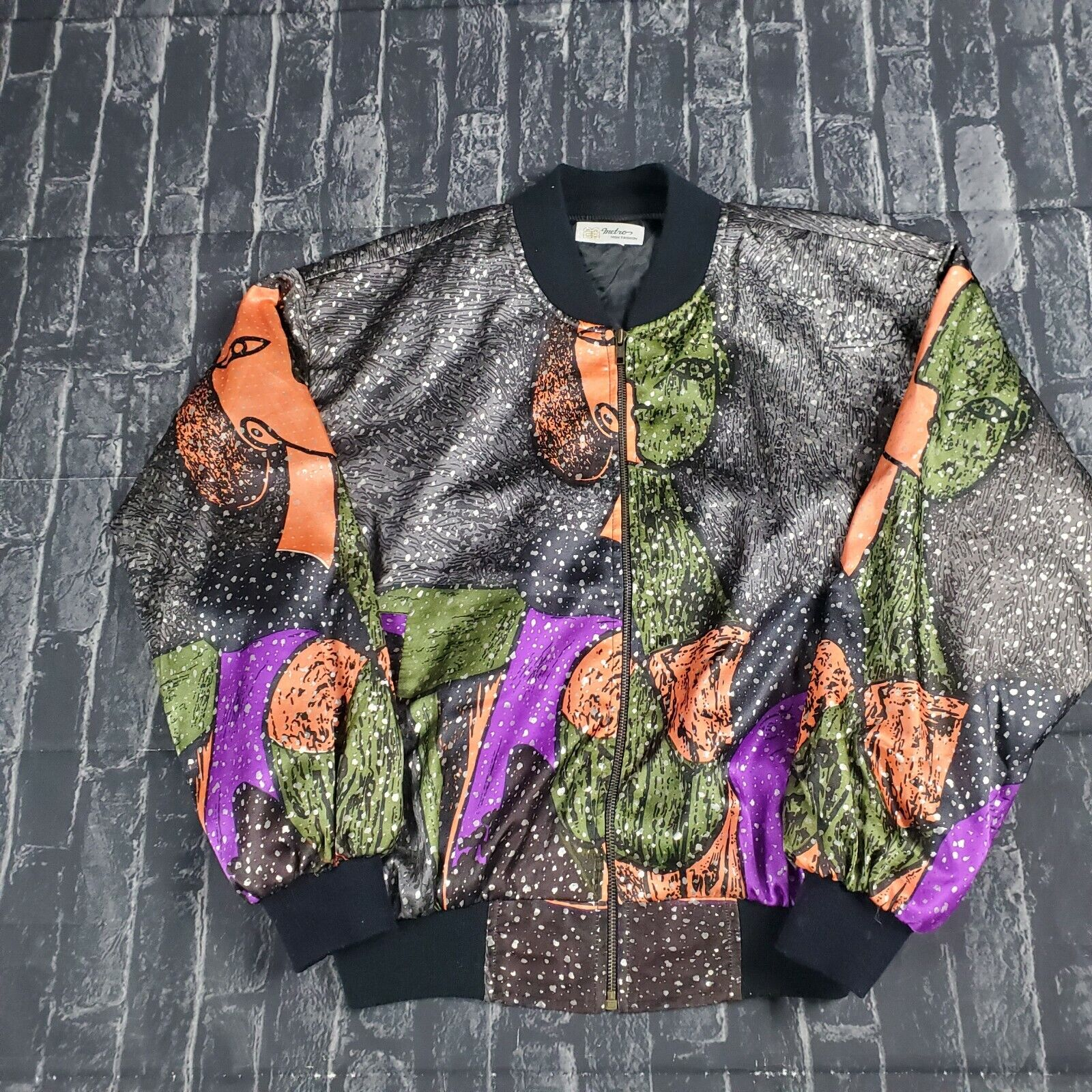 Vintage 90s Rare Pablo Picasso Silk Bomber Jacket… - image 1