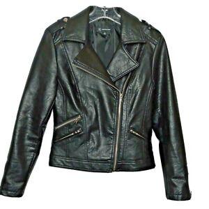INC International Concepts Womens Biker Moto Jacket XS Faux Leather Worn Once