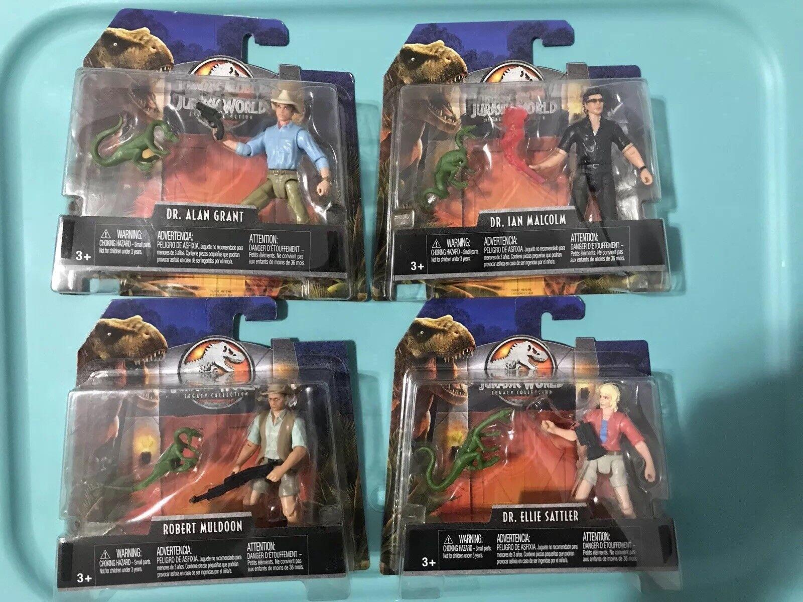 Jurassic World Legacy Collection 4 Figure Set Lot Dr. Ian Malcolm Ellie Sattler