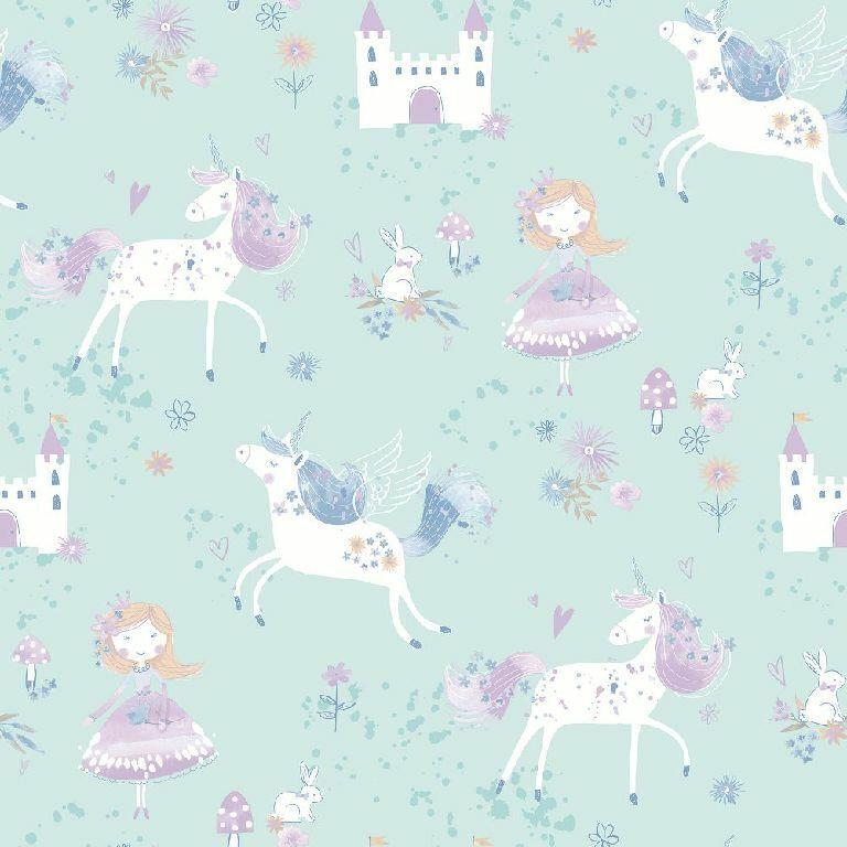 Essener Tapete Just 4 Bimbi 2 G56524 Unicorno Principessa Lucchetto