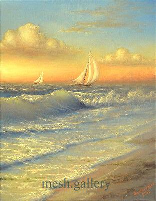 "274-16/""x 20/"" GALLERY WRAP CANVAS ART PRINT SEASCAPE Sailing Ship Sea Moon Night"