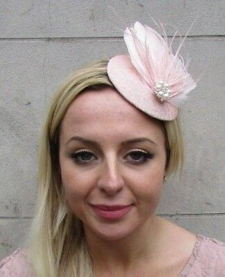 Blush Light Pink Cream White Feather Fascinator Pillbox Hat Races Pearl 3632