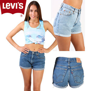 44cfc2a10f VINTAGE LEVIS HIGH WAISTED/CUT OFF TURNED UP WOMEN SHORTS SIZE 6 8 ...