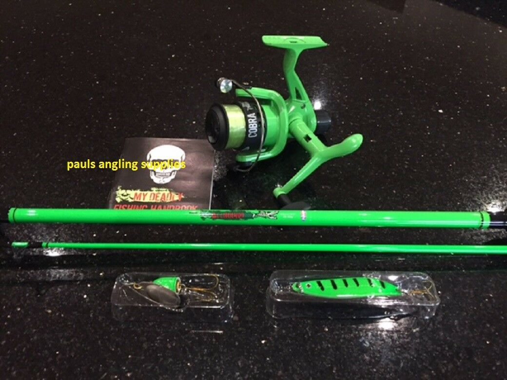 Lake   coast  Green 1.95m Fishing Rod Fishing Reel Line Fitted to Reel & lures