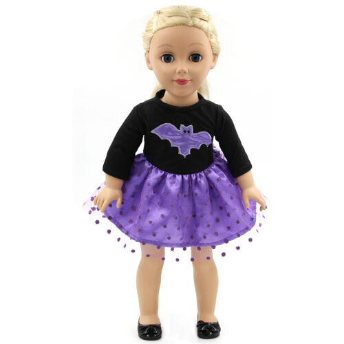 Vanna Purple Dress with Bat Pattern Fits 18 Inch American Girl Dolls 3-8 Years