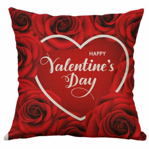 18/'/' Valentine/'s Day Cotton Linen Pillow Case Sofa Cushion Cover Home Decor