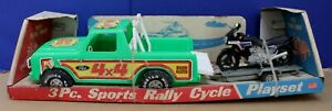 Processed-Plastics-Bronco-w-Trailer-amp-Honda-CX650-Rally-Cycle-Playset-26-034-Boxed