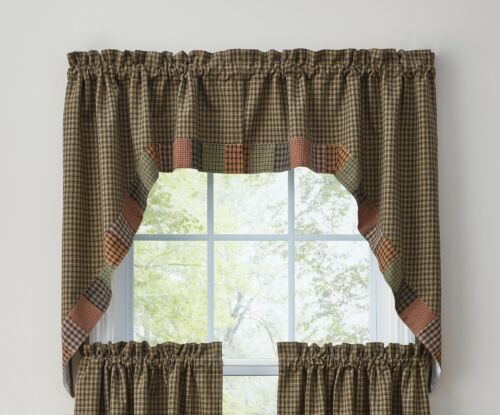 """Window Curtain Lined Swag Pair 36/"""" Pieced Star by Park Designs Appliqué"""