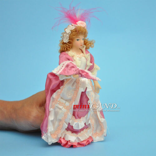 """VICTORIAN LADY IN PINK PORCELAIN DOLL 5.5/""""H dollhouse miniature 1:12 scale"""