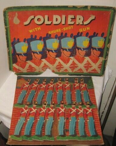 Set of 16 Beautiful Antique 7  Pasteboard Toy Soldiers w Ptl Box J Pressman 1920