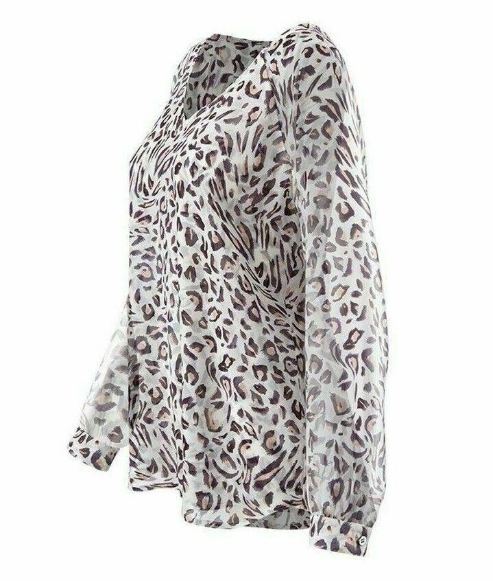 CAbi New NWT Größe L Glamour Blouse Weiß leopard print spring 2018