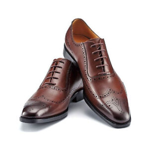 Mens Handmade Oxford Genuine Leather Boots Wing Tip Brogue Dress/Formal Shoes