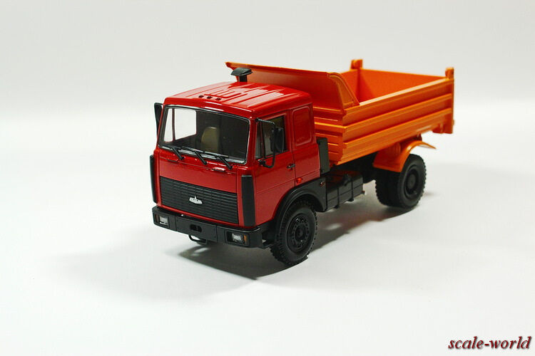 MAZ-55514023 tipper 1997-1999 (red with orange), scale model cars 1 43